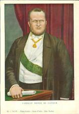 Stampa antica RITRATTO di CAMILLO BENSO conte di CAVOUR 1932 Old antique print