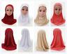 Kids Girls Islamic Muslim East Rhinestone Hijab Flower  Scarf Arab Headwear