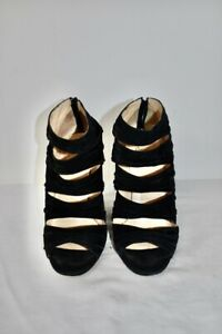 Christian Louboutin Black Suede Women's Wedge Shoes Size 39 or 9M On Sale sn
