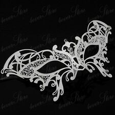 Womens Ravishing Butterfly Laser-Cut Metal Venetian Masquerade Mask [White]