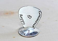 Sterling silver guitar pick and stand set for a happy anniversary