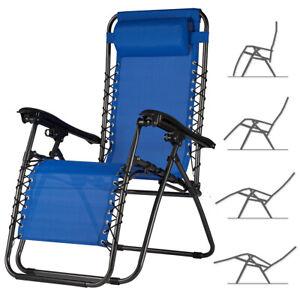 Sedia da Giardino Poltrona Relax Pieghevole Gravita Zero Acciaio Texilene Blu