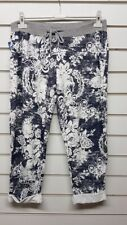 New Ladies Italian Lagenlook Blue Cream joggers trousers size 16 18 20 22 plus