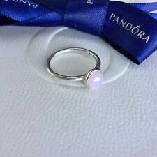 Authentic Pandora October Droplet Pink Opal Ring Size 50 #191012NOP