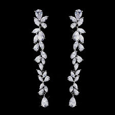 Cascading Dangle Bridal Earrings Cubic Zirconia CZ Prom, Pageant Wedding Long