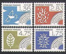 France 1988 Bird/Tree/Flames/Fire/Water/Elements/Pre-cancels 4v set (n36256)