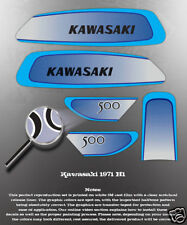 KAWASAKI 1971 H1 FUEL TANK SIDE COVER DECAL GRAPHIC KIT