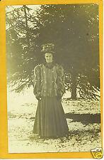 Real Photo Postcard RPPC Woman w/ Great Hat Fur Jacket
