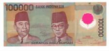INDONESIA 100000 Rupiah VF/XF POLYMER Banknote 1999 P-140 Prefix AUN Paper Money
