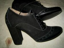 SUEDE CAP TOE OXFORD SHOES IN BLACK BY ORIETTA MANCINI LACE-UP FRONT 40 10-9.5