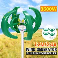 3600W 12/24V 4 Blade Wind Turbine Generator Vertical Axis Clean Energy