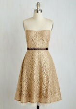 Modcloth Bedazzle the Crowd Dress Gold Taupe Sz S  NWT  $100 Ryu lace Shimmer