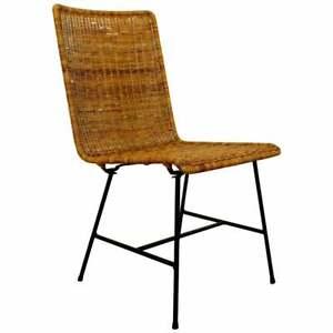 Mid Century Modern Wicker Rattan Iron Side Chair Carl Aubock Style 1960s