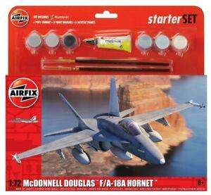 Brand New Airfix 1:72nd Scale McDonnell Douglas F-18A Hornet Starter Set.
