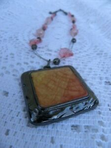 KC Kenneth Cole Pendant Bead Necklace Silver Tone Pink Enamel Strand
