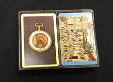 Vintage 2 Decks of Bridge Cards Pocket Watch European City Square w/ Case