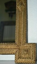 Gilded Tramp Art /Folk Art Mirror Frame Hand Crafted Wood Frame circa 1900