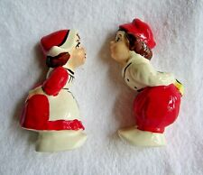 """Vintage Kissing Dutch Boy & Girl Red Outfits Wall Decor- Excellent!  """"Japan"""""""