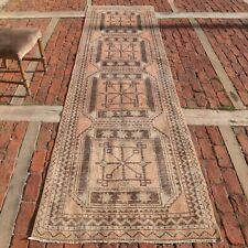 VINTAGE Runner Rug, 3.2x7 ft, Turkish Hallway Runner Distressed Carpet Excellent