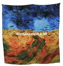 "Large Handmade 100% Pure Silk Art Scarf Wrap w/ Van Gogh ""Wheatfield With Crows"""