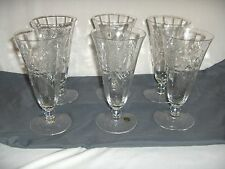 6 Vintage Seneca Crystal Glass Footed Iced Tea Goblets Butterfly 475 Optic Rare