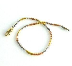 Unisex Shiny Snake Bracelet 14K Yellow Rose Pink White Gold Multi Colour 19cm UK