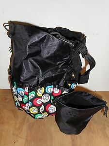 9 Pocket Black Multi-Colored Balls Bingo Bag Drawstring/Strap w/Change Purse