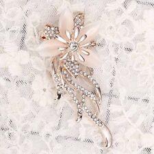 Bouquet Wedding Acrylic Oval Stone Rhinestone Gift Brooch Flower Opal Pin