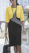 size 14 - Ashro Cheryl YELLOW BLACK STRETCH KNIT JACKET DRESS SUIT career church