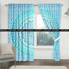 Indian Cotton Curtain Green Ombre Bohemian Window Treatment Hanging Drapes Decor