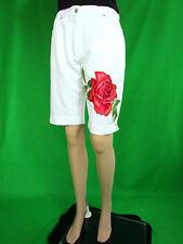 BIAGGINI Vtg Womens Ladies White Hand Custom Casual Crop Pants Shorts sz 12 AN98