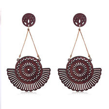 Fashion Women Bohemian Fan Shaped Dangling Stud Wood Statement Earrings  Gift