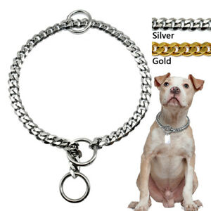 Luxury Cuban Link Pet Dog Chain Collars Stainless Steel Durable Gold Silver