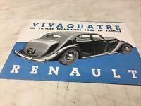 Renault Vivaquatre 1937 catalogue prospectus brochure dépliant publicité