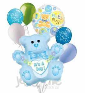 7 pc It's a Boy Blue Bear Balloon Bouquet Decoration Baby Shower Welcome Home