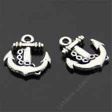 15x Retro Tibetan Silver Anchor Pendant Charms Beads Accessories Wholesale B423P
