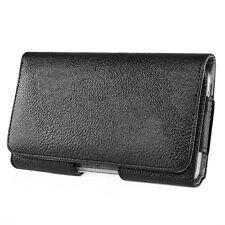 HORIZONTAL BLACK Leather Pouch Holder Belt Clip Case For iPhone 6S Plus / 7 Plus