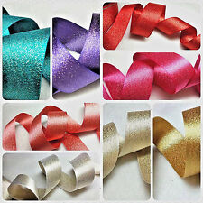 25,15mm 1m BERISFORDS,RIBBON,GLITTER SATIN WITH GOLD SPARKLE,CRAFT,CHRISTMAS,BOW