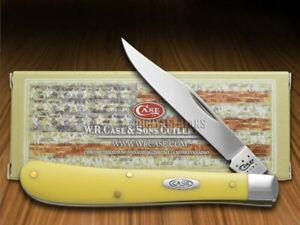 Case xx Slimline Trapper Knife Yellow Delrin CV Steel Pocket Knives 00031