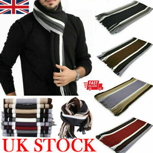 Hot Mens Cashmere Scarf Winter Warm Soft Fringe Striped Tassel Long Shawl Wrap
