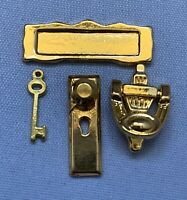 Dolls House Miniature 1/12th Scale Door Plate, Knocker, Letter Box and Key SK108