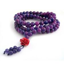 Purple Gemstone Tibet Buddhist 108 Prayer Beads Mala Necklace---8mm