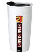 NASCAR #21 Ryan Blaney 12oz Double Wall Ceramic Tumbler-NASCAR Travel Mug