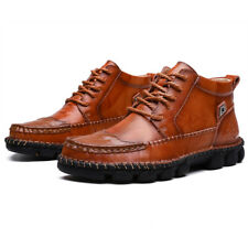 Autumn Winter Men's Leather Ankle Boots Lace-up Vintage British Military Boots
