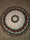 Vintage+White+and+Green+And+Red+Crochet+Doily+18+Inches+Diameter