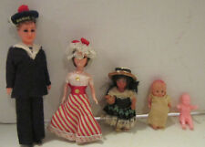 """Lot of 5 small hard plastic & celluloid dolls 2"""" - 6"""" high, babies, sailor  GC"""