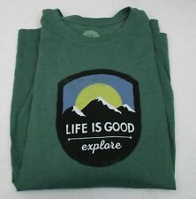 Men's Life is Good L/S T Shirt Mountains Explore Large