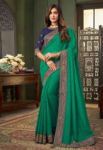Heavy Indian Pakistani Ethnic Bollywood Designer Velvet Wedding Party Wear Saree