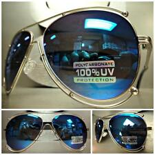 CLASSIC VINTAGE 70's RETRO Style SUNGLASSES SHADES Silver Frame Blue Mirror Lens