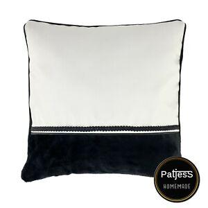 Kissenhülle Leder weiß schwarz mit Kaschmir Dekokissen Handmade NEU